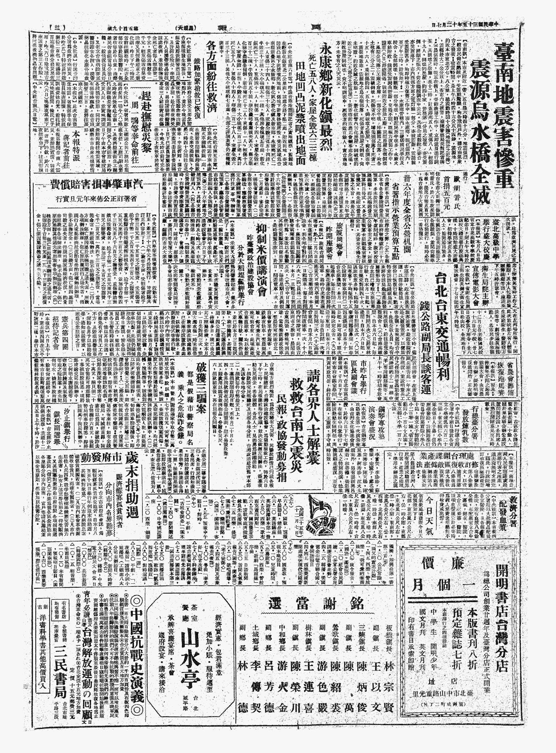 抑制米價講演會,昨臺灣政治建設協會,分於大稻埕艋舺舉行